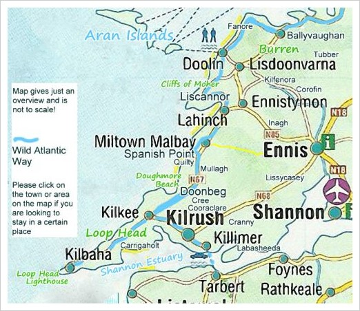 accommodation in clare - click on the area in the map!