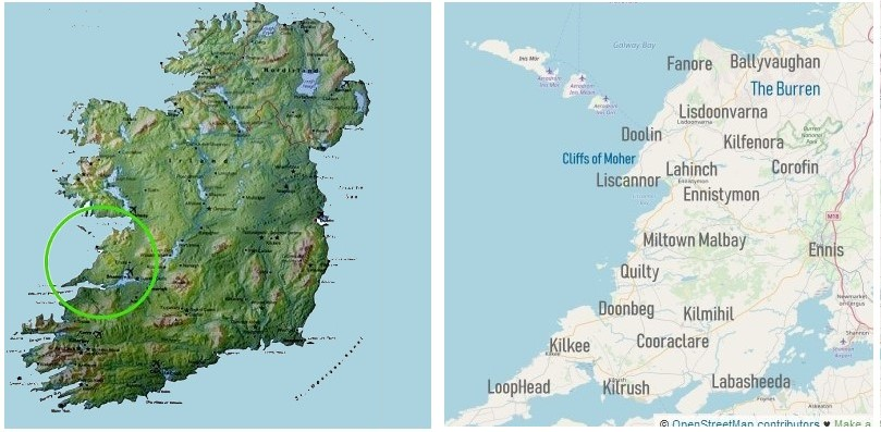 Map Of Southern Ireland Cities.The West Of Ireland Where Is County Clare The Wild Atlantic Way