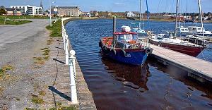 Quay Mills vom Hafen aus gesehen
